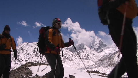 Climbers walking towards Mt. Everest base camp in Tibet... Stock Video Footage