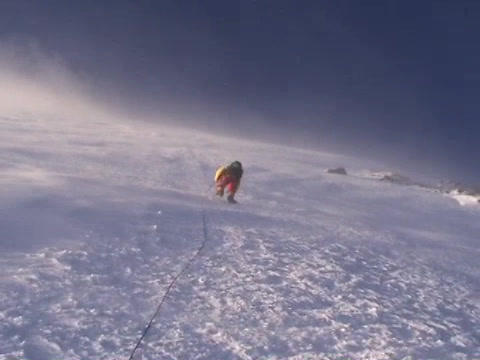 Climber ascends vertical slopes of Mt. Everest Footage