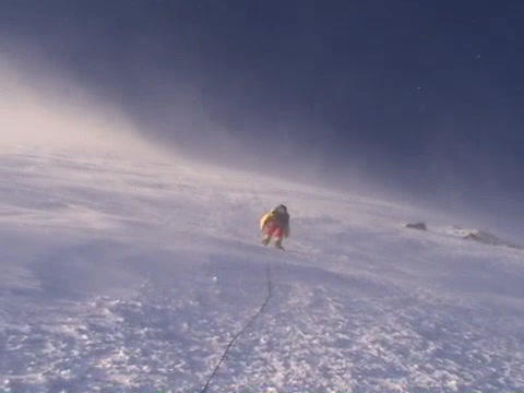 Climber ascends vertical slopes of Mt. Everest Stock Video Footage