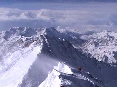 Beautiful summit shot from atop Mt. Everest - climbers... Stock Video Footage