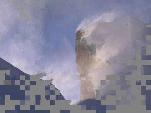 Near the summit of Everest - wind blowing snow off a ridge Stock Video Footage