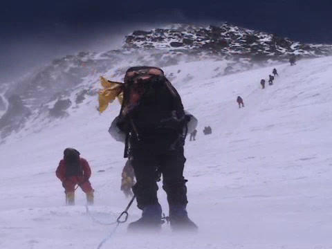 Difficult climbing on Everest - a group of climbers... Stock Video Footage