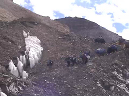Yaks walking up a rocky and icy hill on Mt. Everest Stock Video Footage