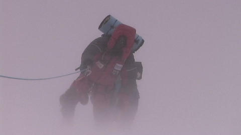 Climbers fight brutal storm on Mt. Everest Stock Video Footage