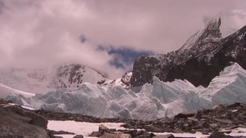 Time lapse of clouds moving across pyramids of ice (ice... Stock Video Footage