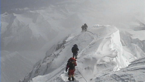 Climbers coming down from the summit of Everest climbing... Stock Video Footage