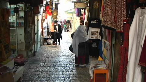 Hasidic man walking the streets of old city Jerusalem... Stock Video Footage