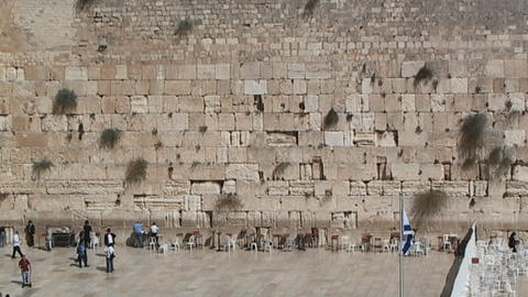 People visiting the Western Wall (Wailing Wall) in Jerusalem Stock Video Footage