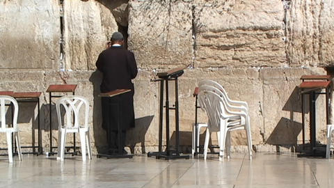 Hasidic man praying at the Western Wall (Wailing Wall) Footage