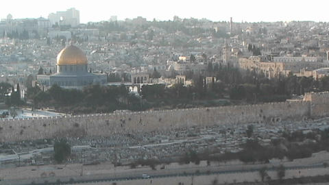 Al-Aqsa Mosque - the Dome of the Rock as seen from Mount of Olives Footage
