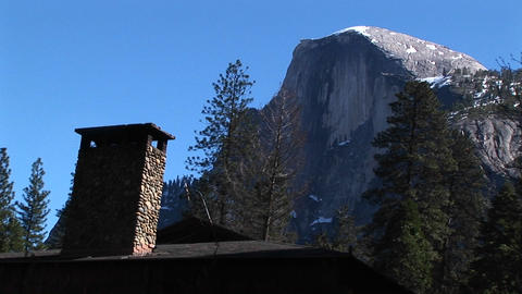 Close-up of a cabin chimney in Yosemite Stock Video Footage