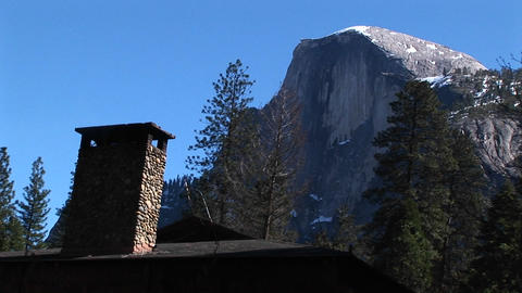 Close-up of a cabin chimney in Yosemite Live Action