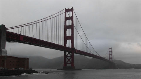 View of the Golden Gate Bridge's incredible span across... Stock Video Footage