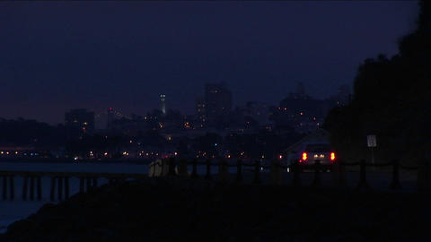 Cars head towards the Golden Gate Bridge and the... Stock Video Footage