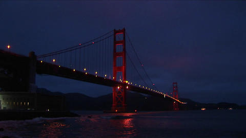 A spectacular nighttime view of historic Golden Gate Bridge Footage