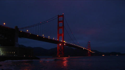 A spectacular nighttime view of historic Golden Gate Bridge Stock Video Footage
