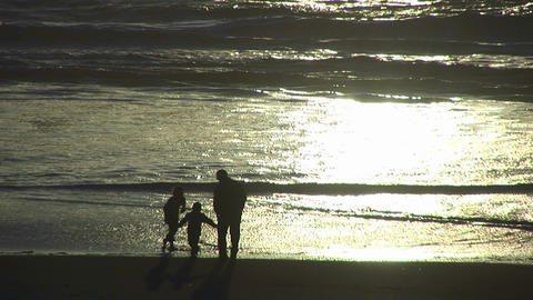 A man and a two children explore the beach as the tide... Stock Video Footage