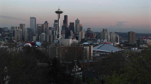 A dramatic view of Seattle's skyline at the golden hour Stock Video Footage