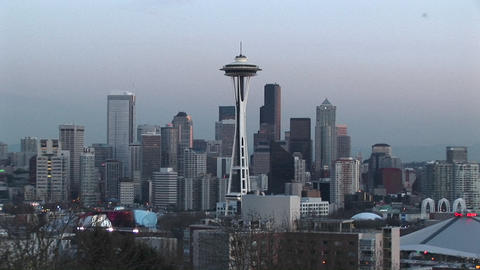 The Space Needle stands out in this aerial view of... Stock Video Footage