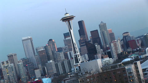 Angled aerial view of Seattle's landmark Space Needle and other downtown skyscrapers Footage