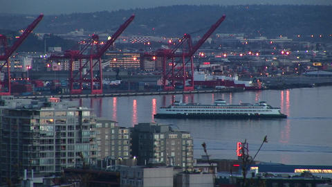 A cruise ship makes its way through Seattle's harbor... Stock Video Footage