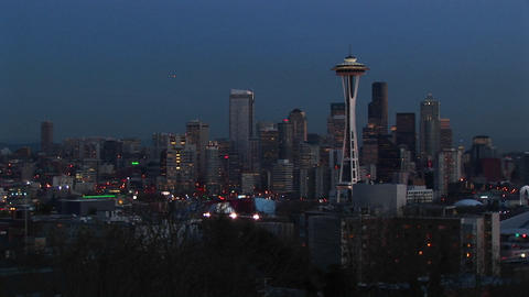 Seattle's landmark Space Needle is a standout in this evening skyline shot Footage