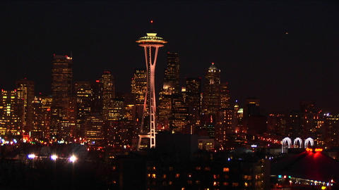 Seattle's landmark Space Needle is truly a standout at night Stock Video Footage
