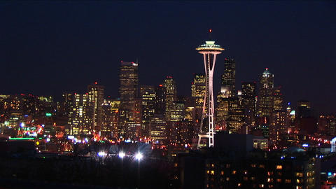 Seattle glitters at night, with the landmark Space Needle a crowning jewel Footage