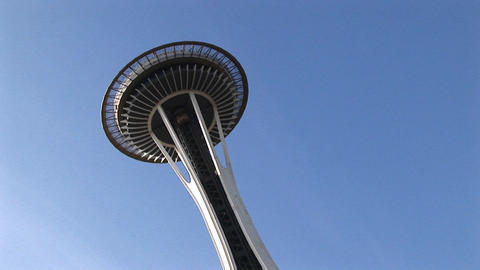 A close-up of Seattle's landmark Space Needle from below Stock Video Footage