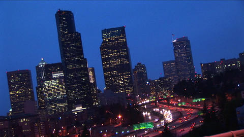 An angled view of Seattle's downtown skyline at night... Stock Video Footage