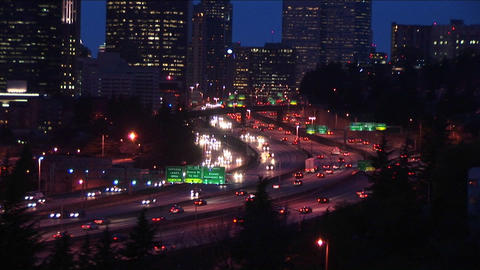 A look at downtown Seattle at rush hour Footage