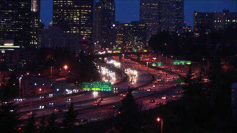 A look at downtown Seattle at rush hour Stock Video Footage