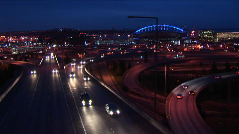 Traffic drives on Seattle's freeways Stock Video Footage