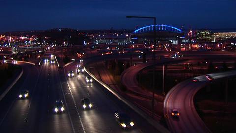 Traffic drives on Seattle's freeways Stock Video Footage