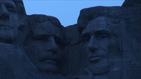 Presidents Thomas Jefferson, Theodore Roosevelt and Abraham Lincoln look serene in this partial view Footage