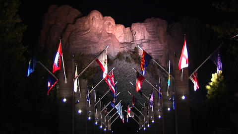 A night look at Mt. Rushmore in lights with the Avenue of... Stock Video Footage