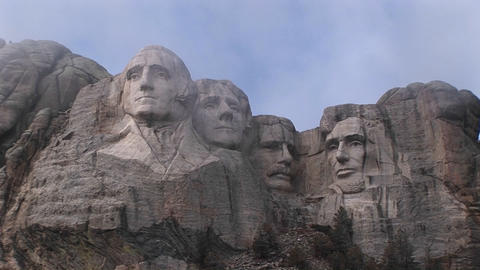 Different views of Mt. Rushmore on a cloudy day Stock Video Footage