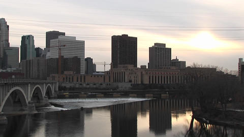 A cool winter's day with a city skyline in shades of gray Stock Video Footage