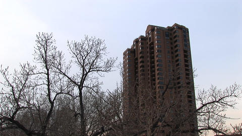 A residential high-rise is shown in winter with bare trees in the foreground Footage
