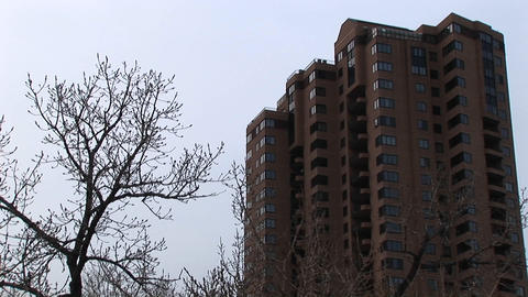 A look at a highrise apartment building with bare trees... Stock Video Footage