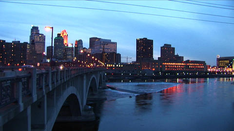 A picturesque city skyline at night with lights Stock Video Footage