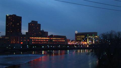Left-pan across the Minneapolis, Minnesota skyline from... Stock Video Footage