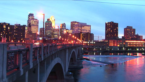 Swish-pan creating trace lights of Minneapolis Minnesota... Stock Video Footage