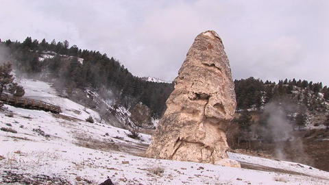 Tilt shot of a limestone cone created by mineral deposits... Stock Video Footage