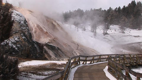 Medium-shot of steam rising from a geothermal area in Yellowstone National Park, Wyoming Footage