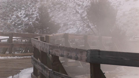 A montage of tourist walkways in winter near the hot springs in Yellowstone National Park Footage
