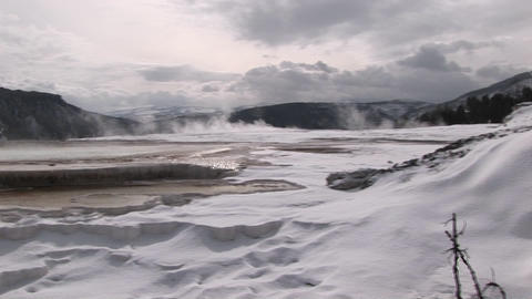 A panoramic view of steamy hot springs in winter Stock Video Footage