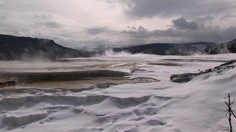 Wide shot of a hot springs' terraces in winter Stock Video Footage