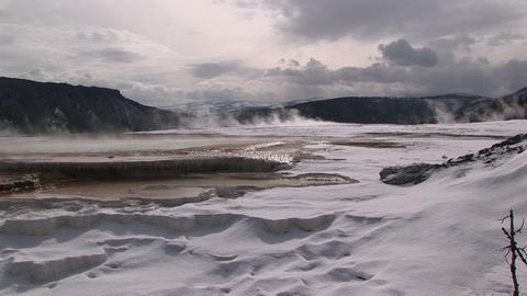 Wide shot of a hot springs' terraces in winter Footage