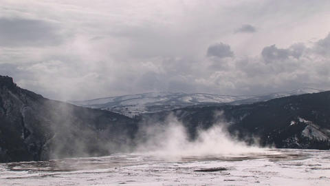 Steam from a hot springs pool blends seamlessly with a... Stock Video Footage